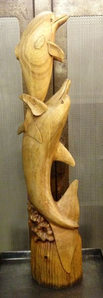 Large Carved Wooden Dolphins