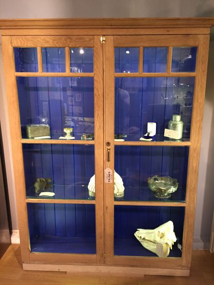 Stripped oak Edwardian Cabinet with Lights