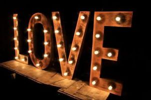 Upcycled Steel LOVE letter light