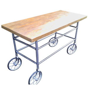Upcycled Victorian Stretcher Bar Trolley