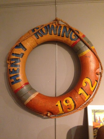 Vintage Painted Life Ring with Rowing Club Decals